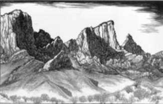 Print by Leo Meissner: Oracle Mts., Arizona, represented by Childs Gallery
