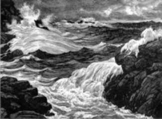 Print by Leo Meissner: Stormy Seas, represented by Childs Gallery