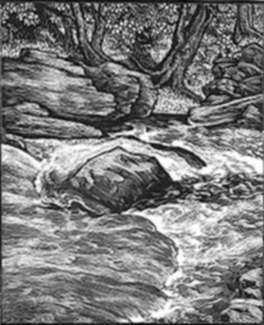 Print by Leo Meissner: Trout Riffle, represented by Childs Gallery