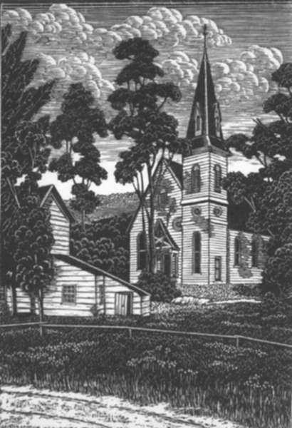 Print by Leo Meissner: Village Kirk, represented by Childs Gallery