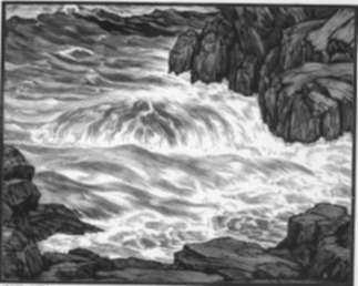 Print by Leo Meissner: White Water, represented by Childs Gallery