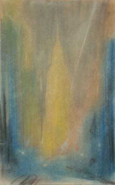 Pastel by Leon Dolice: [Manhattan Skyline I], represented by Childs Gallery