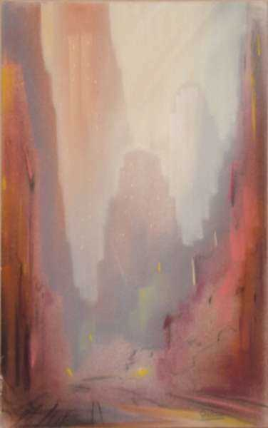 Pastel by Leon Dolice: [Manhattan Skyline II], represented by Childs Gallery