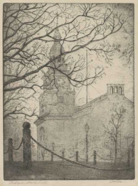 Print by Leon Dolice: Independence Hall, Philadelphia, represented by Childs Gallery