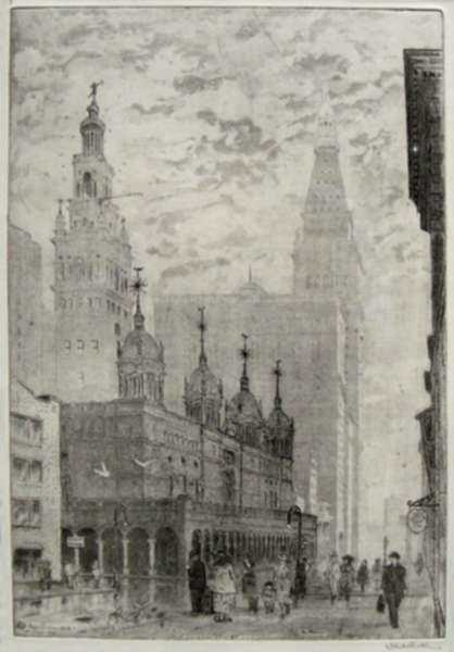 Print by Leon Dolice: Madison Square, represented by Childs Gallery
