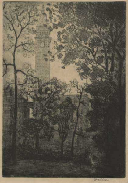 Print by Leon Dolice: Metropolitan Tower, represented by Childs Gallery