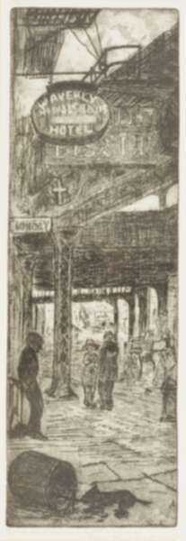 Print by Leon Dolice: Where the Bowery Meets Chinatown, represented by Childs Gallery