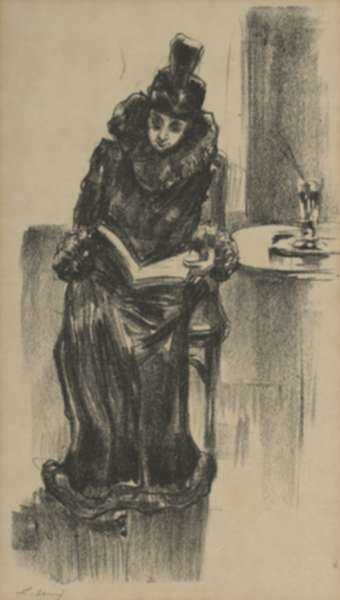 Print by Lesser Ury: Lesende Dame im Cafe I (Woman Reading at the Cafe I), represented by Childs Gallery