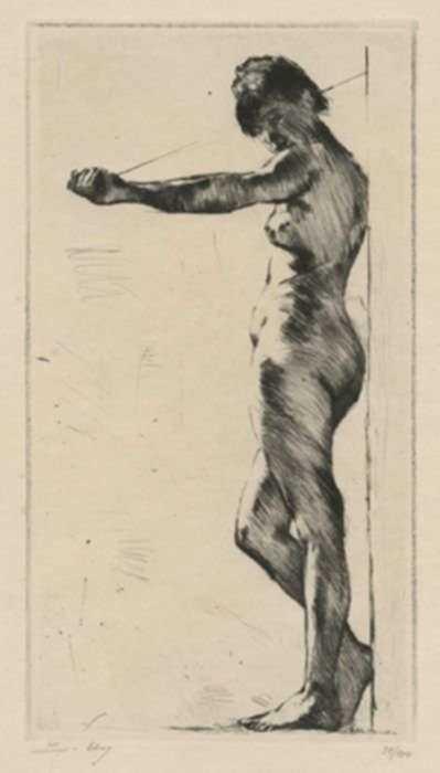 Print by Lesser Ury: Stehender, an eine Wand gelehnter weiblicher Akt [Standing, , represented by Childs Gallery