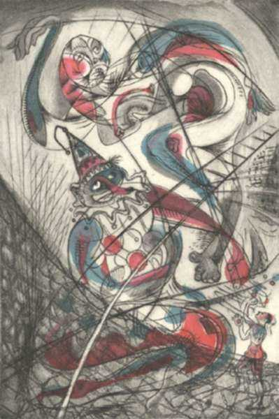 Print by Letterio Calapai: Circus I (Acrobats), represented by Childs Gallery