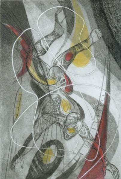 Print by Letterio Calapai: Circus II (Space Man), represented by Childs Gallery