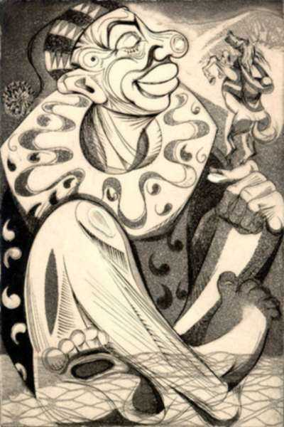 Print by Letterio Calapai: Circus IV (Clown), represented by Childs Gallery