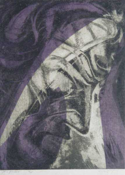 "Print by Letterio Calapai: The Seven Last Words of Christ: No. 6, ""It is finished"", represented by Childs Gallery"