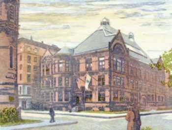 Print by Louis Novak: The Old Alma Mater, represented by Childs Gallery