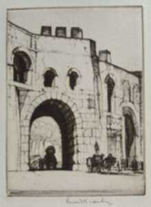 Print by Louis Rosenberg: Porta Pinciana, Rome, represented by Childs Gallery