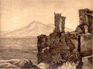 Print by Luigi Lucioni: Romantic Ruins, represented by Childs Gallery