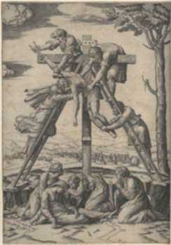 Print by Marcantonio Raimondi: Descent from the Cross [after Raphael Sanzio (1483-1520)], represented by Childs Gallery