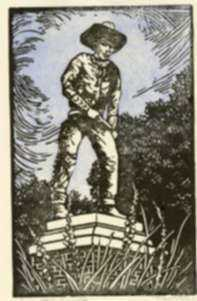 Print by Margaret Evelyn Whittemore: Cowboy Statue, Dodge City [Kansas], represented by Childs Gallery