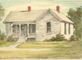 Print by Margaret Evelyn Whittemore: Home of Carry A. Nation, Medicine Lodge, Kansas., represented by Childs Gallery