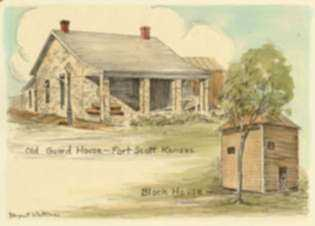 Print by Margaret Evelyn Whittemore: Old Guard House, Fort Scott, Kansas & Block House, represented by Childs Gallery