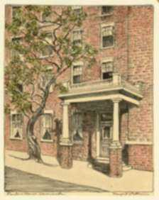 Print by Margaret Evelyn Whittemore: Planter's House, Leavenworth [Kansas], represented by Childs Gallery
