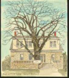 Print by Margaret Evelyn Whittemore: Post Office Oak, Council Grove [Kansas], represented by Childs Gallery