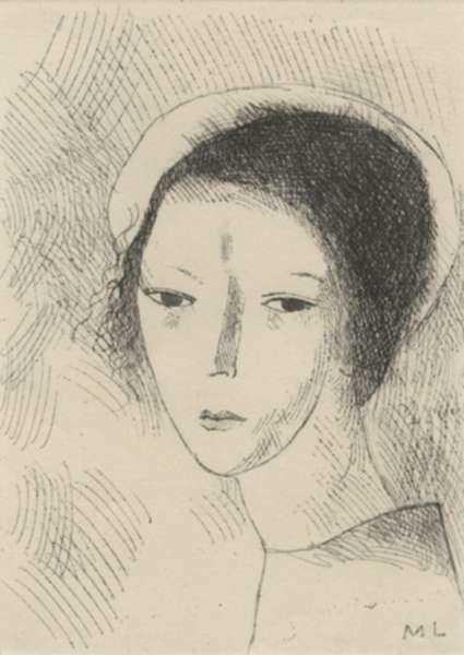 Print by Marie Laurencin: Tete de Jeune Fille, represented by Childs Gallery