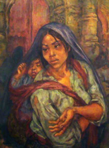 Painting by Marion Greenwood: Beggar Woman, or Mexican Madonna, represented by Childs Gallery