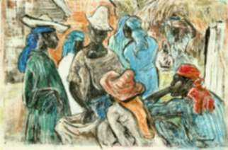 Mixed media by Marion Greenwood: Haitian Market Day, represented by Childs Gallery