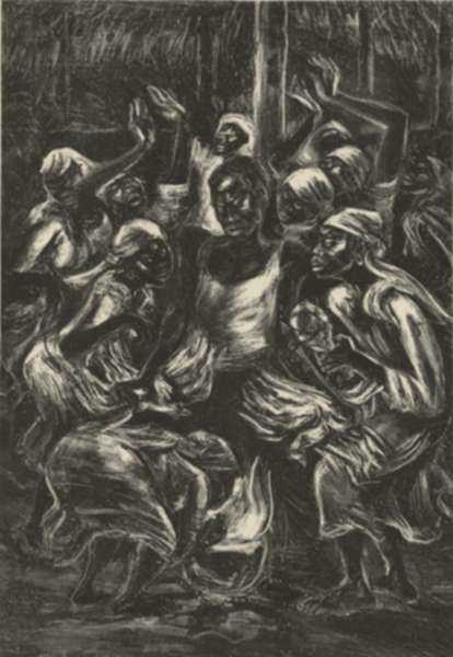 Print by Marion Greenwood: Voodoo Ritual, represented by Childs Gallery