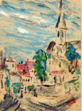 Print by Marion Huse: Church in France, represented by Childs Gallery