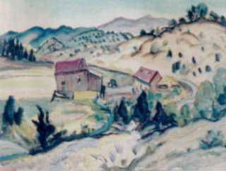 Painting by Marion Huse: Ranch in New Mexico, represented by Childs Gallery