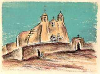 Print by Marion Huse: Rancho de Taos Mission [New Mexico], represented by Childs Gallery