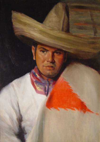 Painting by Marion Patten: Portrait of a Young Mexican Boy, represented by Childs Gallery