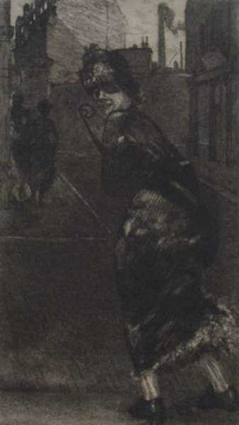 Print by Max Klinger: Auf de Strauss, represented by Childs Gallery