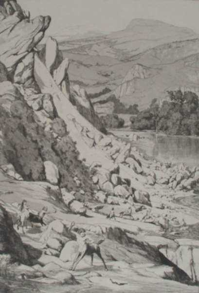 Print by Max Klinger: Bergsturz, represented by Childs Gallery