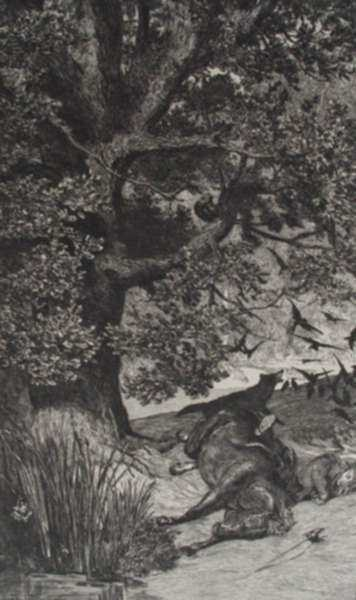 Print by Max Klinger: Gefallener Reiter, represented by Childs Gallery