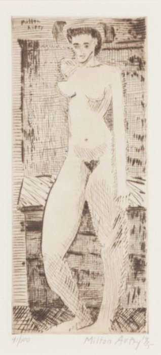 Print by Milton Avery: Young Girl Nude, represented by Childs Gallery