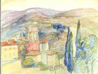 Watercolor by Molly Luce: [Hillside Town, Southern Europe], represented by Childs Gallery