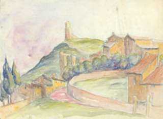 Watercolor by Molly Luce: [Houses Among Rolling Hills], represented by Childs Gallery