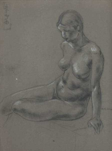 Drawing by Molly Luce: [Seated Nude], represented by Childs Gallery