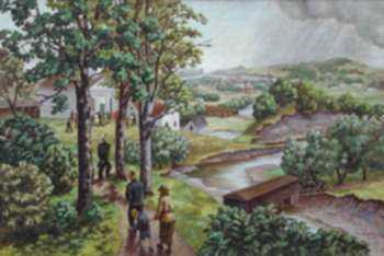 Painting by Molly Luce: Rufus Clark's Church, Ohio, represented by Childs Gallery
