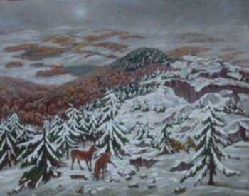 Painting by Molly Luce: Snow on the Mountain, [Mount Monadnock], represented by Childs Gallery