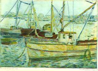 Print by Mortimer Borne: The Boats Sheepshead Bay [Brooklyn, New York], represented by Childs Gallery