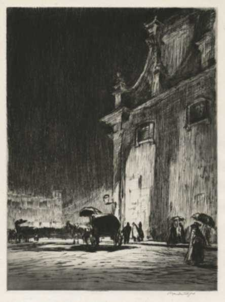 Print by Muirhead Bone: Rainy Night in Rome, represented by Childs Gallery
