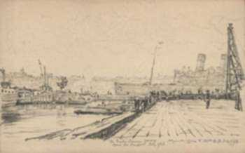 Drawing by Muirhead Bone: The Giulio Caesare Going Down the Hudson, represented by Childs Gallery