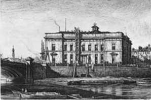 Print by Muirhead Bone: The Old Justiciary Court House (South Front) from the Clyde , represented by Childs Gallery