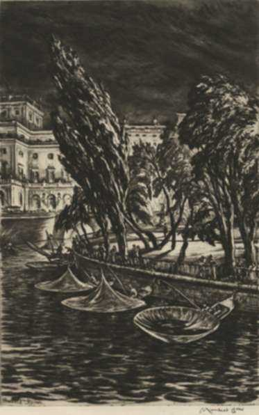 Print by Muirhead Bone: Windy Night, Stockholm, represented by Childs Gallery