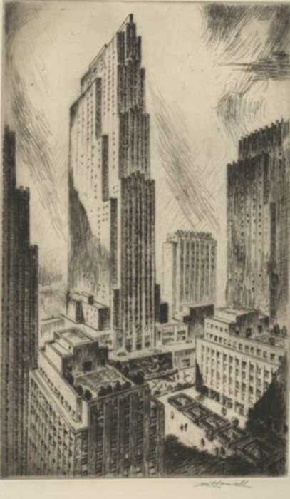 Print by Nat Lowell: Rockefeller Center, represented by Childs Gallery