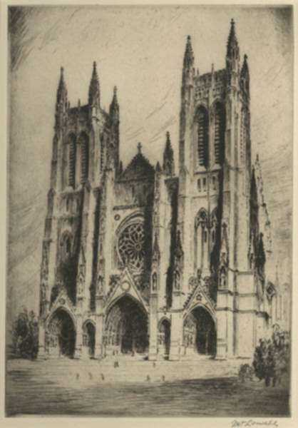 Print by Nat Lowell: The Cathedral of Saint John the Divine, New York City, represented by Childs Gallery